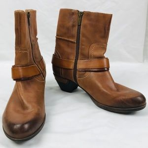 Pikolinos Cognac Brown Leather Buckle Ankle Boots